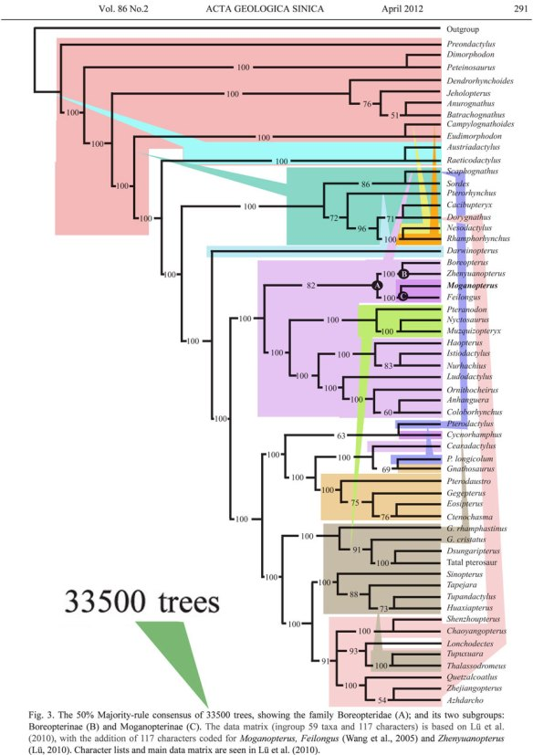 The Lü et al. (2012) family tree of the Pterosauria.
