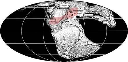 The Triassic World with Rotodactylus areas in pink.