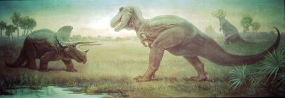Triceratops (left) and Tyrannosaurus rex (right) according to tank-buster tradition and Charles Knight from a mural at the Field Museum of Natural History, Chicago.