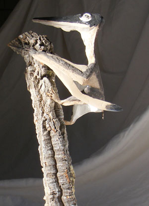 Pterodactylus on a cork branch by David Peters, 2013.