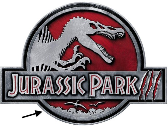 Jurassic Park 3 logo, including a nice Pteranodon in ventral view with narrow chord wings.