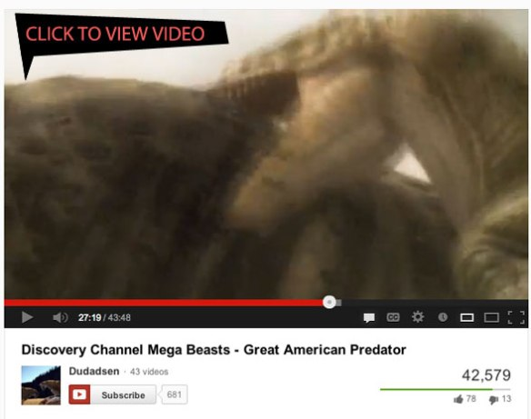 Acrocanthosaurus Paluxy River attack video. Click to view. 43 minutes.