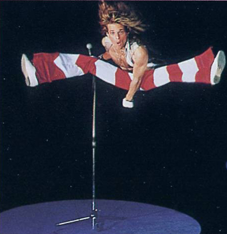 David Lee Roth of Van Halen demonstrating bipedal leaping and hind wing gliding, as in Sharovipteryx (Fig. 3).