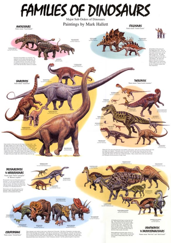 A poster combining many of the dinosaurs from Mark's Zoobook: Dinosaurs.