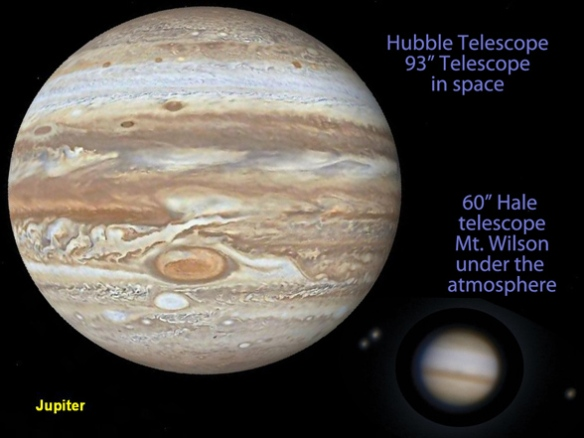 Figure 1. The planet Jupiter as seen from above the atmosphere (Hubble) and below (Hale). Having a poor resolution photo did not impede astronomers from gathering data on Jupiter.