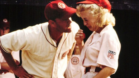 "Tom Hanks, screaming, ""There's no crying in baseball!"" from the 1992 movie, ""A League of Their Own."""