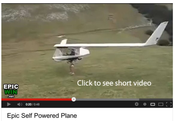 Click to play 48-second video of glider launching by airspeed alone caused by a stiff breeze.