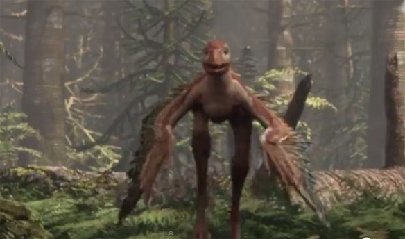 Figure 1. Sinornithosaurus running in pursuit of Microraptor. Click to see video. Neither of this animated creatures is using its forelimbs to generate thrust. What are they waiting for??