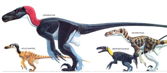 """Figure 1. Inside cover illustration spread for """"Raptors, the Nastiest Dinosaurs"""" by Don Lessem, illustrated by David Peters. Don asked for a """"no feathers dinosaur"""" so that's what he got. Don't blame the artist. I tried to persuade. Utahraptor is the big dromaeosaur here."""