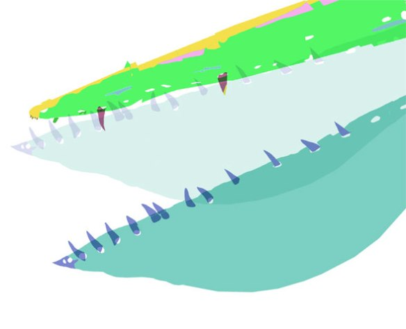 Figure 1. Ikrandraco jaw tips. Here the mandible extends slightly beyond the the rostrum, which has extremely tiny premaxillary teeth.