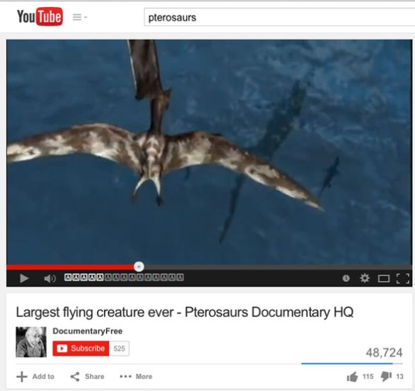 Figure 1. National Geographic pterosaur documentary on YouTube. Click to view.
