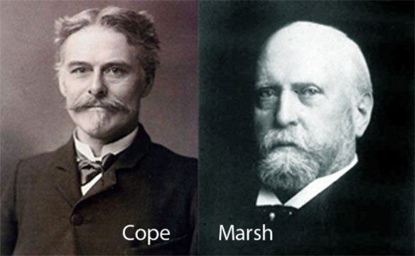 "Figure 1. Cope and Marsh in their classic poses. These two early paleontologists were combatants in the first ""bone wars."""