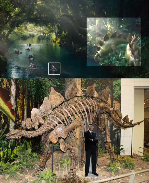 Figure 3. Jurrasic Park 4 giant Stegosaurus (above, highlighted by Photoshop) and to scale with President Obama (below).