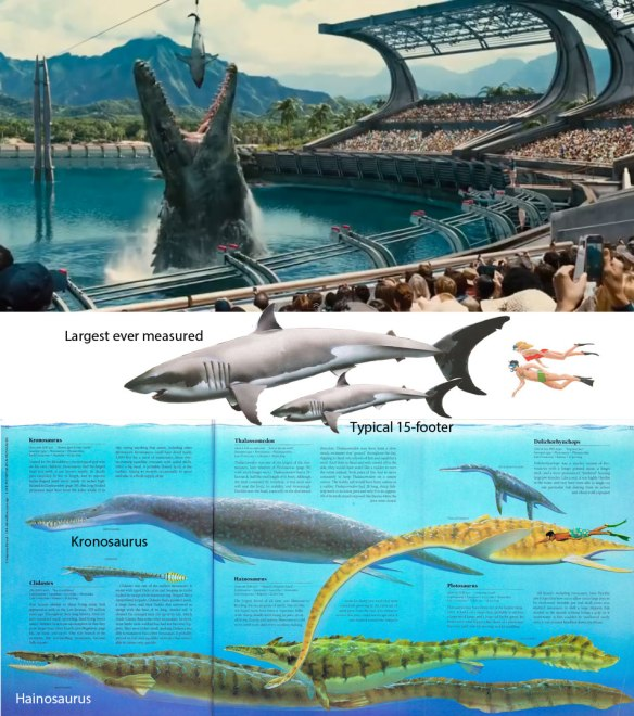 Figure 1. Click to enlarge. The giant sea monster (not sure if this is a pliosaur or a mosasaur) is feeding on a great white shark.  Actual size comparisons below.
