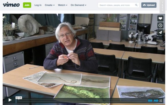Video link 1. Dave Martill describing from large photos Tetrapodophis. Just a few minutes long.