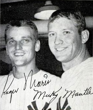 Figure 1. Roger Maris and Mickey Mantile in 1961, two Yankees with a chance to break Babe Ruth's home run record.