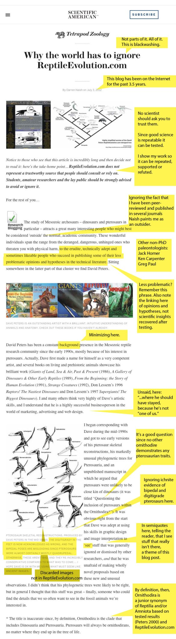 Figure 1 of 10. Click to enlarge. Monitor shot of Tet Zoo blog with annotations in yellow.