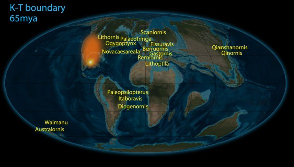 Figure 1. The world at the K-T boundary, 65 mya and the distribution of Paleocene birds.
