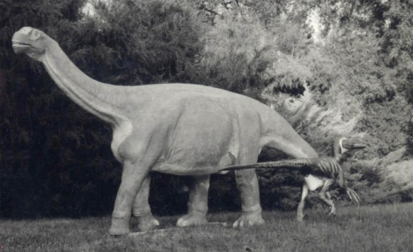 Figure 1. Baby Camarasaurus and featherless Deinonychus models built by David Peters in the 1990s.