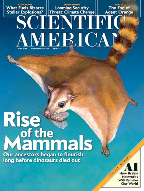 Figure 1. Scientific American recently featured Volaticotherium on its cover. James Gurney is the illustrator here.