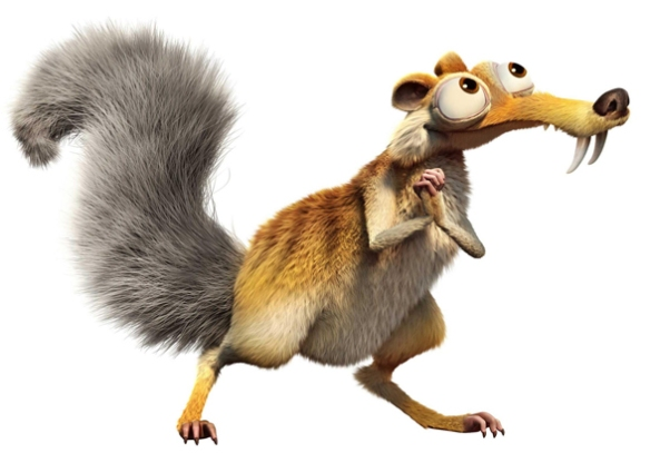 Figure 7. Scrat, the sabertooth squirrel, from the Ice Age movie franchise, has fangs, a long rostrum and short cranium like Rhynchocyon -- by convergence, no doubt.