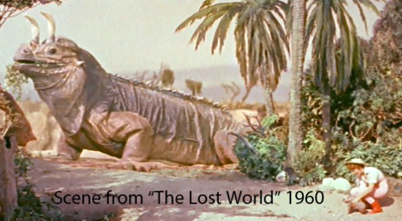 Figure 2. Scene from the 1960 film, The Lost World, featuring a giant iguana with horns added presaging the appearance of Shringasaurus.