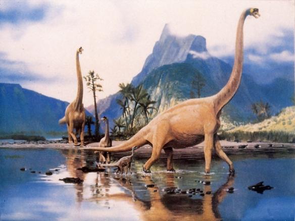 Figure 2. Family of Brachiosaurus illustration from A Dinosaur Year 1989.