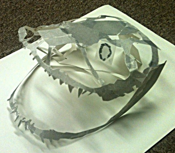 Figure 3. Another view of the paper reconstruction of the skull and mandibles of Discodactylus.