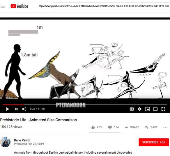 Figure 1. Click to enlarge. Pteranodon scene from Prehistoric Life video from Dane Pavitt. Incredible, excellent video, hearkening back to Giants of Land, Sea & Air - Past & Present (Peters 1986). Just a tweak or two necessary for the included Pteranodon. Extend those metacarpals and elevate that stance!