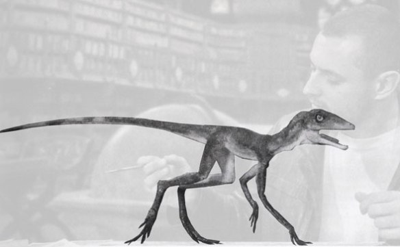 Figure 2. Model of hypothetical trackmaker of Prorotodactylus alongside its creator, paleontologist, Grzegorz Niedzwiedzki (ghosted to bring out the model) from Brusatte 2018.