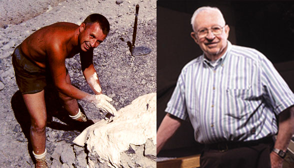Figure 1. John Ostrom, from young paleo stud to elderly professorial type.