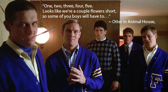 Figure 1. Scene from Animal House when Otter walks in with roses for his hotel rendezvous, only to meet the frat boys ready to teach him a lesson.